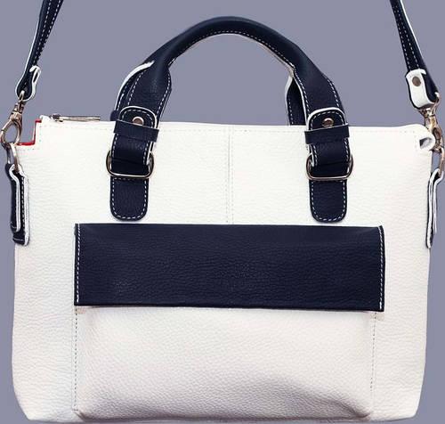 Очаровательная женская сумочка из натуральной кожи VATTO Wk20 Fl6N4, белый с синим