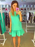 Платье с воланом салатовое