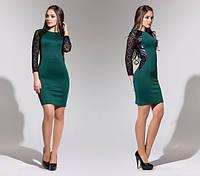 Платье женское вставки гипюра и эко кожи, фото 1