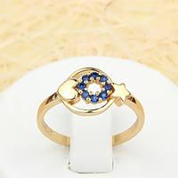 002-1399 - Изящное позолоченное кольцо с синими фианитами, 18 р.