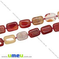 Бусина натуральный камень Сердолик, 18х13х6 мм, Прямоугольная плоская, 1 шт (BUS-009979)