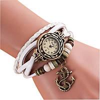 Женские кварцевые наручные часы-браслет в ретро-стиле с подвеской Якорек, цвет - белый