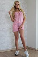 Костюм женский шортами из хлопка - Розовый