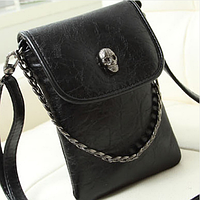 Женская сумочка с черепом черная через плечо