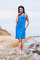 Синее короткое хлопковое платье с принтом и кармашиками. Арт-5690/57