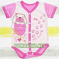 Детский боди-футболка р. 62 ткань КУЛИР-ПИНЬЕ 100% тонкий хлопок ТМ Незабудка 3119 Розовый