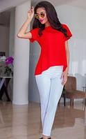 Брючный женский костюм с асимметричной блузкой из креп шифона и брюками из турецкой костюмной ткани