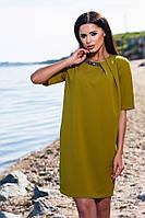 Модное свободное платье в горчичном цвете, короткий рукав. Арт-5692/57