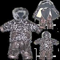 Детский зимний термо комбинезон: штаны и куртка на флисе и отстегивающейся овчине,р.80, 98
