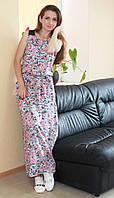 Стильное женское платье в пол длинное с пальмами розовое