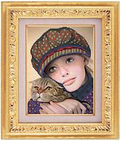 Схема для частичной вышивки бисером габардин «Портрет девочки» ВШ,248х305,Габардин,Арт.ЧБ-11 /00-02