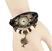 Женские кварцевые наручные часы-браслет в ретро-стиле с подвеской Дерево, цвет - черный