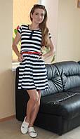 Стильное летнее женское платье в полоску синие