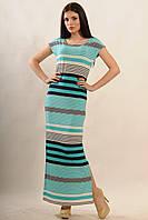 Длинное платье из струящейся ткани с ярким летним принтом в цветную полоску, по бокам  разрезы 42-52 размеры