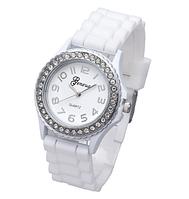 Женские часы GENEVA Женева  с силиконовым ремешком белого цвета, женские наручные часы интернет магазин
