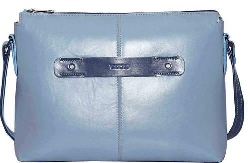Классная женская сумочка из натуральной кожи VATTO Wk31 N7.2, голубой+джинс