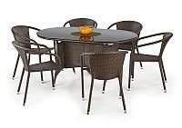 Плетені меблі з синтетичного ротангу MASTER. Стіл + 6 крісел