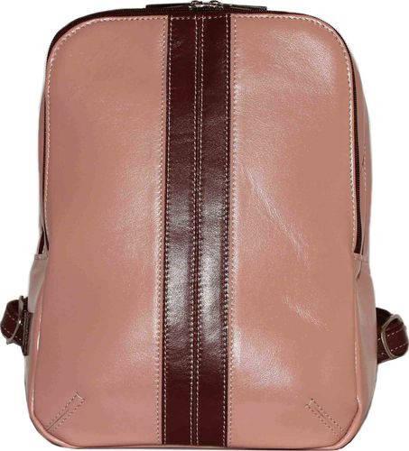 Симпатичный женский городской рюкзак из натуральной кожи 7 л цвета пудры+бордо VATTO Wk37 N6.5