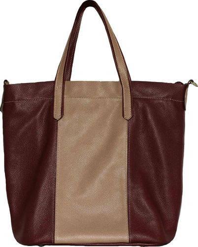 Необычная женская сумка из натуральной кожи VATTO Wk43 Fl5.4, бежевый+бордо