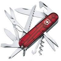 Нож складной, мультитул + LED Victorinox HUNTSMAN LITE (91мм, 21 функция), красный прозр. 1.7915.T
