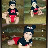 Боди Микки Маус для мальчика с шапочкой
