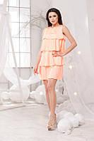 Летнее персиковое платье свободного кроя. Арт-5698/57