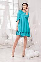 Летнее шёлковое платье в бирюзовом цвете. Арт-5700/57