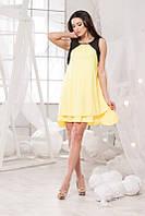 Летнее шёлковое платье - разлетайка в жёлтом цвете. Арт-5701/57