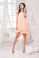 Летнее шёлковое платье - разлетайка в персиковом цвете. Арт-5701/57