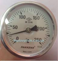"""Термометр 0-250°С, Ø63мм, з різьбою 1/2 """"біметалічний, осьовий, PAKKENS"""
