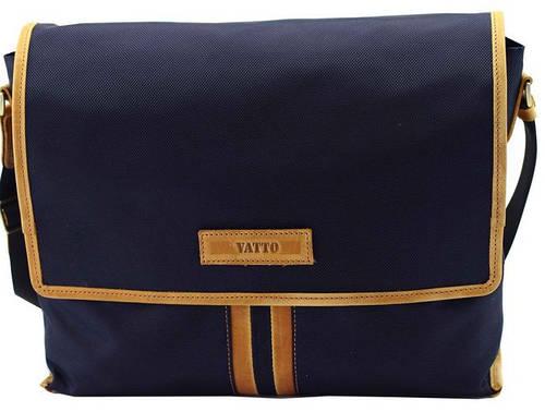Красивая мужская текстильная сумка с отделением для планшета VATTO T34 N4 Kr190, синий с рыжим