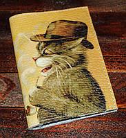 Кожаная обложка на паспорт Кот в шляпе