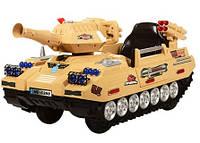 Детский электромобиль Танк М 3123 R-13 желтый с пультом, стреляет, открываются двери и багажник, амортизаторы