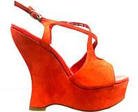Босоножки женские Glossi красные замшевые на платформе,женские босоножки