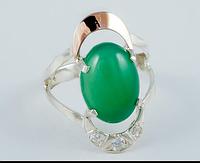 Серебряное кольцо с зеленым хризопразом и золотом 34072