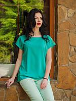 Красивая мятная блуза с гипюровой спиной