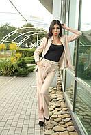 Стильные длинные брюки со стрелками, широкие от бедра костюмная ткань 42-52 размер