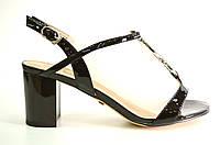 Босоножки женские D.Bigioni черные из натуральной кожи на каблуке,женские босоножки