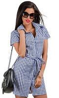 Клетчатое женское платье рубашка под пояс с коротким рукавом штапель коттон