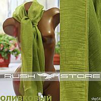 Оливковый шифоновый шарф