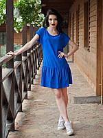 Синее летнее платье штапель