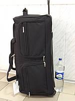 Огромная текстильная сумка на  колесах LYS Франция 8430 черная 110 литров