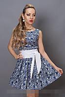 Платье мод 248 -12 размер 44,46,48 джинс в белый цветочек