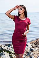 Элегантное замшевое платье с карманами в бордовом цвете, больших размеров. Арт-5708/57