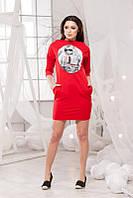 Стильное трикотажное красное платье принт+карманы, рукав 3/4, больших размеров. Арт-5712/57
