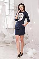 Стильное трикотажное тёмно синее платье принт+карманы, рукав 3/4, больших размеров. Арт-5712/57