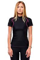 Женская компрессионная футболка для спорта PLASTIC BODY purple Berserk Sport черный