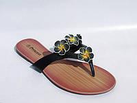 Вьетнамки женские черные цветы эко-кожа