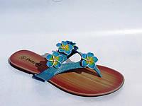 Вьетнамки женские голубые цветы эко-кожа