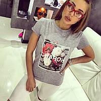 Женская футболка с принтом цветы 42-46